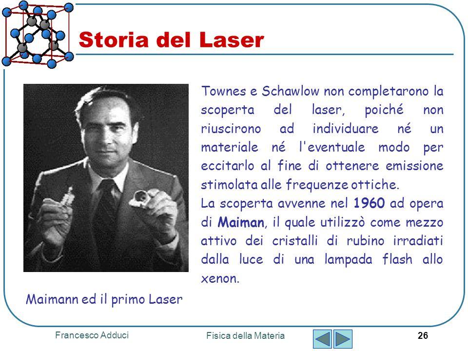 Francesco Adduci Fisica della Materia 26 Storia del Laser Townes e Schawlow non completarono la scoperta del laser, poiché non riuscirono ad individua