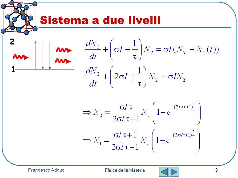 Francesco Adduci Fisica della Materia 3 Sistema a due livelli 1 2 1 2