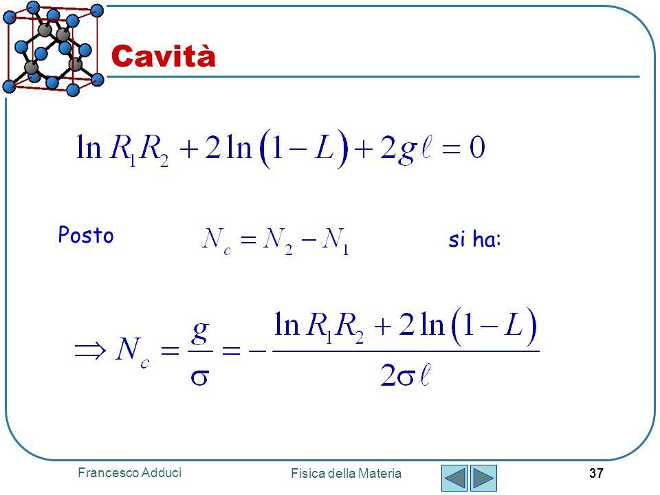 Francesco Adduci Fisica della Materia 37 Posto si ha: Cavità