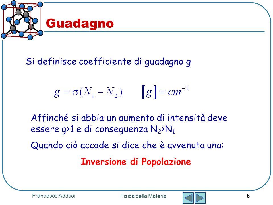 Francesco Adduci Fisica della Materia 6 Guadagno Si definisce coefficiente di guadagno g Affinché si abbia un aumento di intensità deve essere g>1 e d