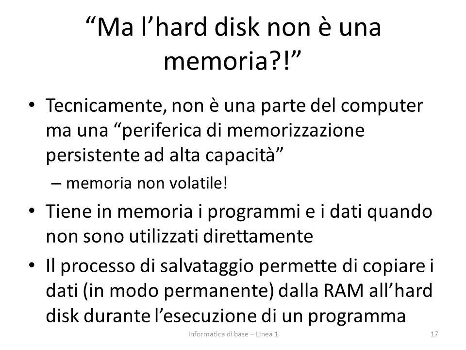 """""""Ma l'hard disk non è una memoria?!"""" Tecnicamente, non è una parte del computer ma una """"periferica di memorizzazione persistente ad alta capacità"""" – m"""