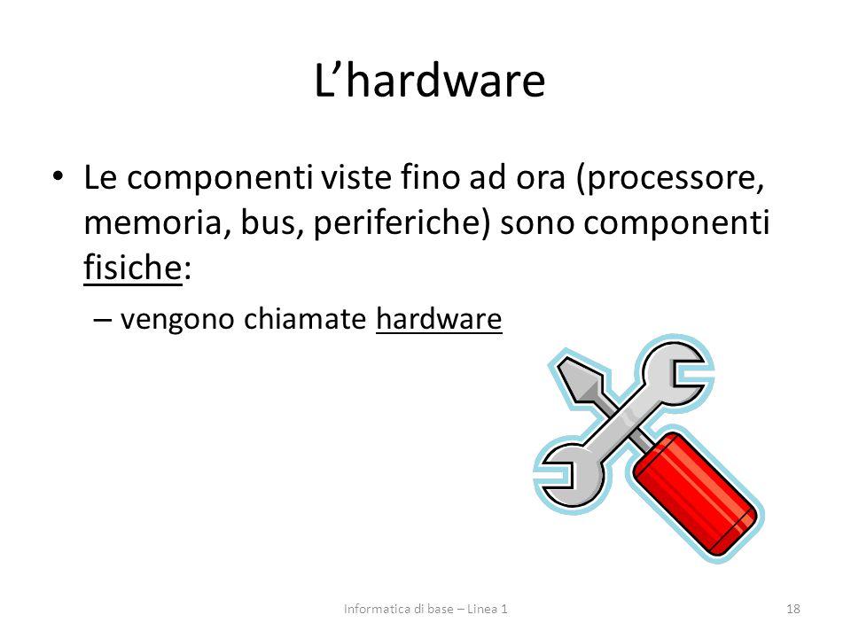 L'hardware Le componenti viste fino ad ora (processore, memoria, bus, periferiche) sono componenti fisiche: – vengono chiamate hardware 18Informatica