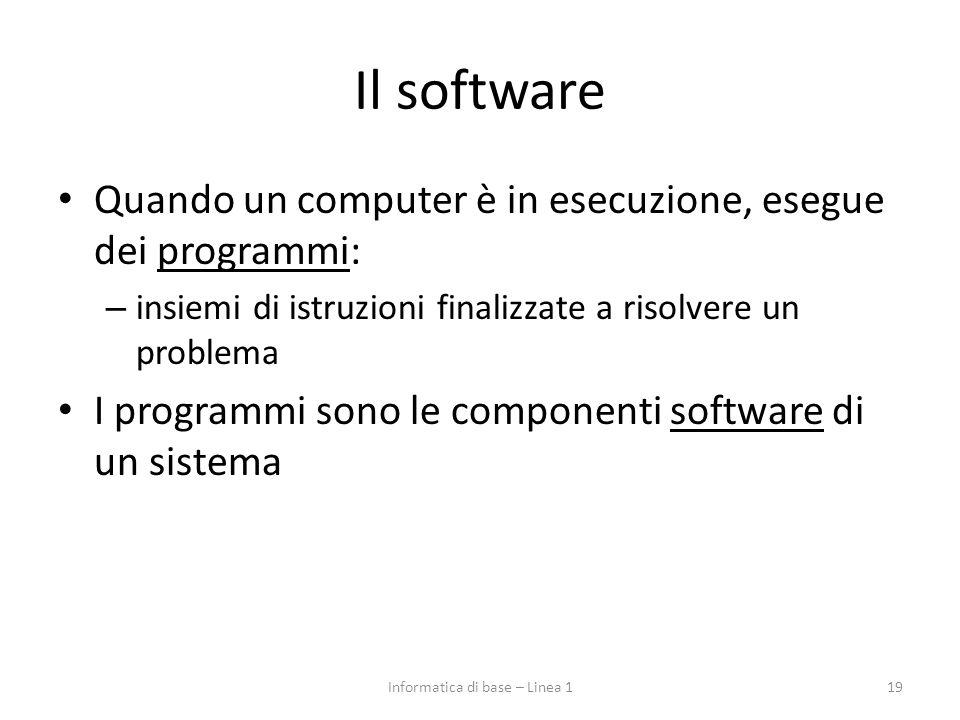 Il software Quando un computer è in esecuzione, esegue dei programmi: – insiemi di istruzioni finalizzate a risolvere un problema I programmi sono le