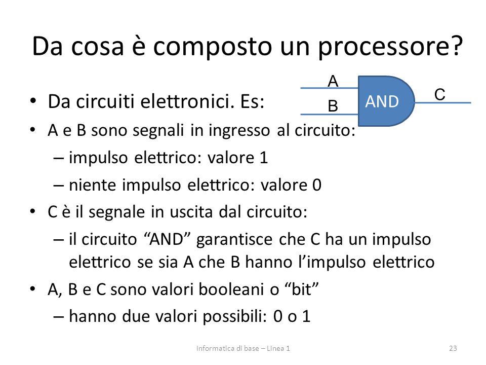 Da cosa è composto un processore? Da circuiti elettronici. Es: A e B sono segnali in ingresso al circuito: – impulso elettrico: valore 1 – niente impu