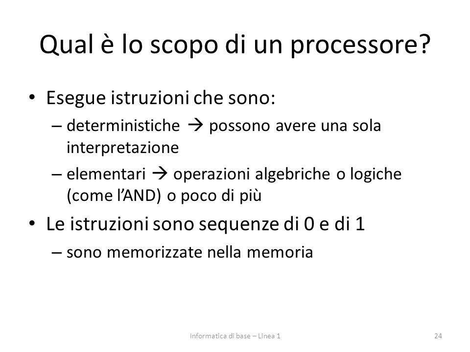 Qual è lo scopo di un processore? Esegue istruzioni che sono: – deterministiche  possono avere una sola interpretazione – elementari  operazioni alg