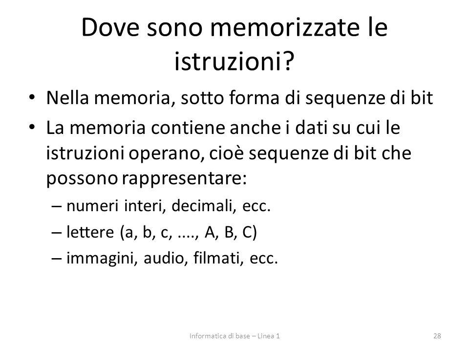 Dove sono memorizzate le istruzioni? Nella memoria, sotto forma di sequenze di bit La memoria contiene anche i dati su cui le istruzioni operano, cioè