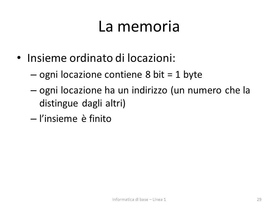 La memoria Insieme ordinato di locazioni: – ogni locazione contiene 8 bit = 1 byte – ogni locazione ha un indirizzo (un numero che la distingue dagli