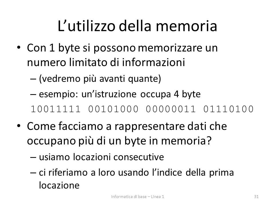 L'utilizzo della memoria Con 1 byte si possono memorizzare un numero limitato di informazioni – (vedremo più avanti quante) – esempio: un'istruzione o