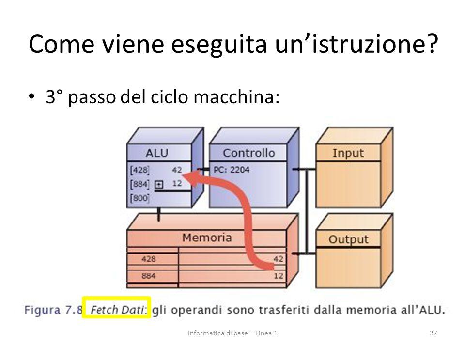 3° passo del ciclo macchina: 37Informatica di base – Linea 1 Come viene eseguita un'istruzione?