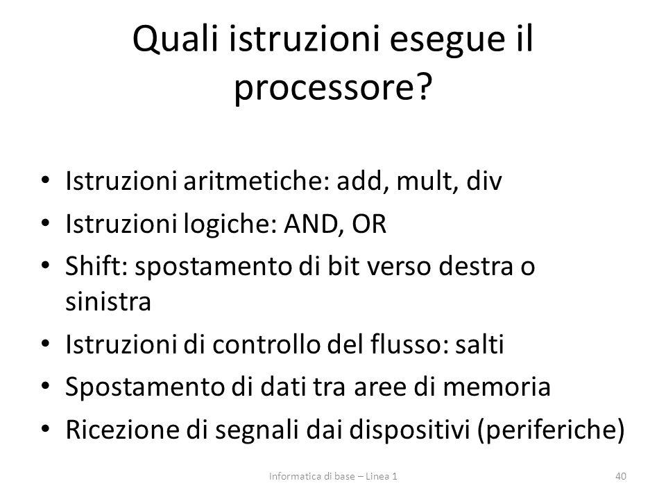 Quali istruzioni esegue il processore? Istruzioni aritmetiche: add, mult, div Istruzioni logiche: AND, OR Shift: spostamento di bit verso destra o sin