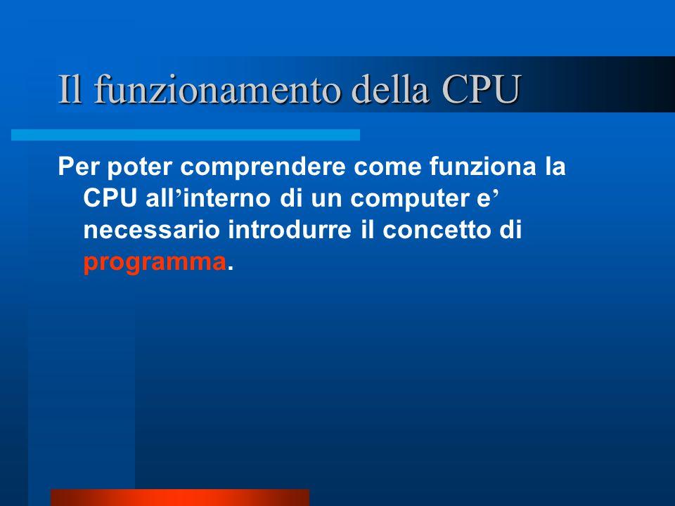 Il funzionamento della CPU Per poter comprendere come funziona la CPU all ' interno di un computer e ' necessario introdurre il concetto di programma.