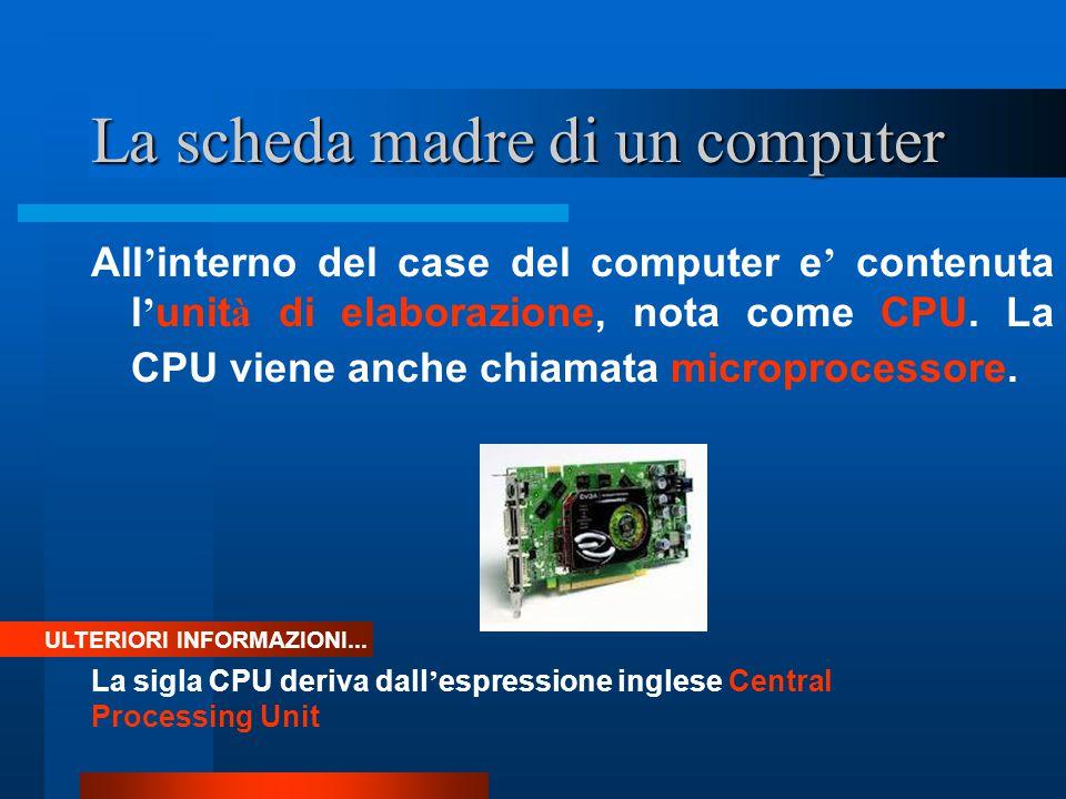 La scheda madre di un computer All ' interno del case del computer e ' contenuta l ' unit à di elaborazione, nota come CPU. La CPU viene anche chiamat