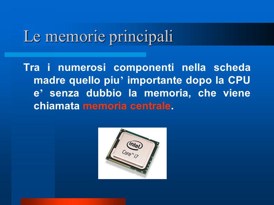 Le memorie principali Tra i numerosi componenti nella scheda madre quello piu ' importante dopo la CPU e ' senza dubbio la memoria, che viene chiamata