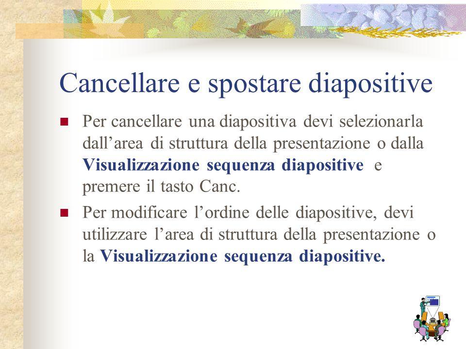 Inserire, modificare diapositive Per aggiungere una diapositiva alla presentazione seleziona dal menu Inserisci la voce Nuova diapositiva; puoi usare