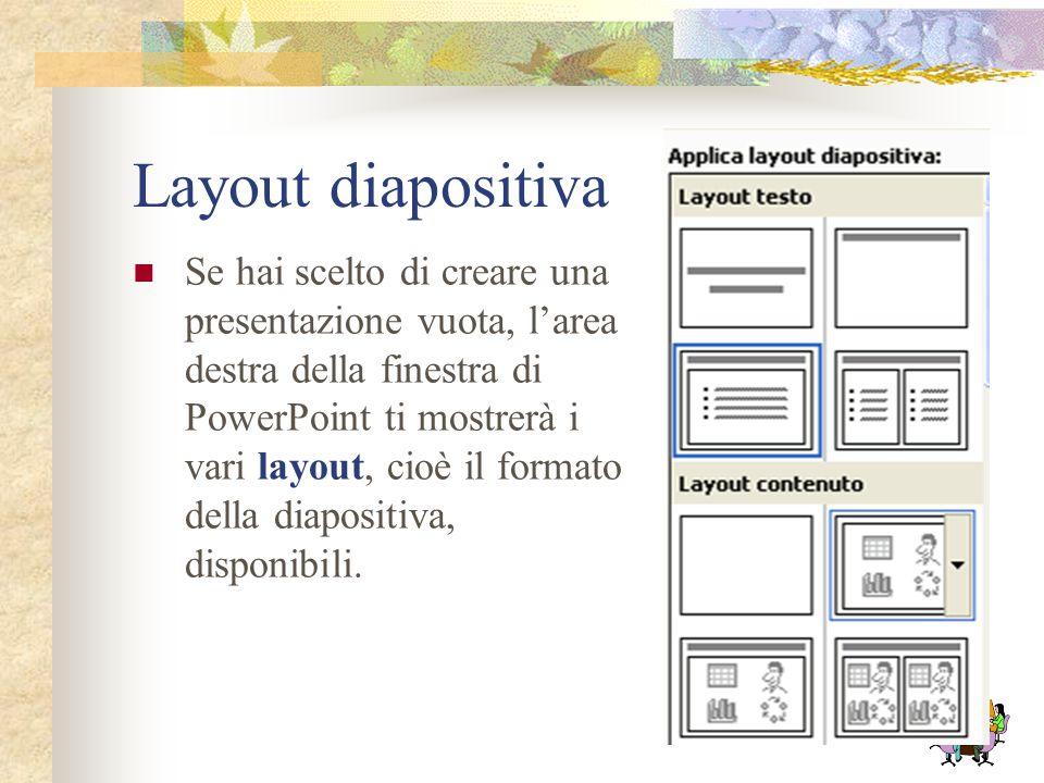 L'opzione Presentazione vuota permette di creare una nuova presentazione a partire da uno schema vuoto. Da Modello struttura si può creare una nuova p