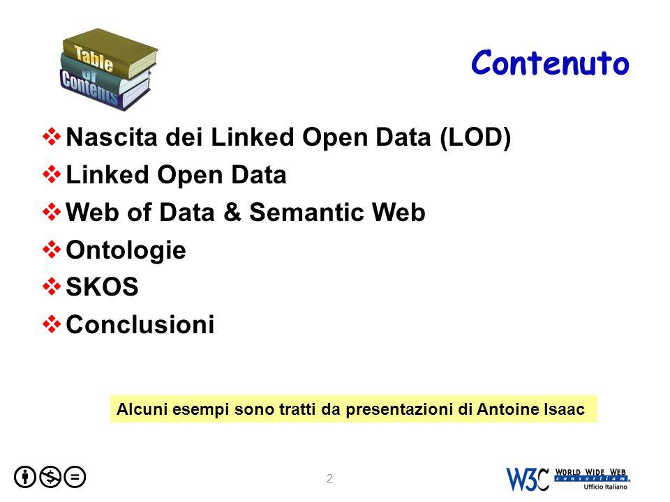 Simple Knowledge Organization System  W3C Recommendation (agosto 2009)  Ambito: Knowledge Organization Systems (KOS): (thesauri, schemi di classificazione, subject heading systems e tassonomie)  Obiettivo: Porting ( Webifying ) thesauri Rappresentare e condividere classificazioni, glossari, thesauri etc.