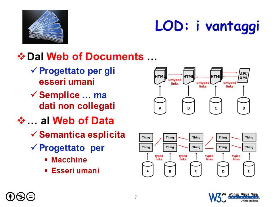 LOD: i vantaggi  Dal Web of Documents … Progettato per gli esseri umani Semplice … ma dati non collegati  … al Web of Data Semantica esplicita Progettato per  Macchine  Esseri umani 7