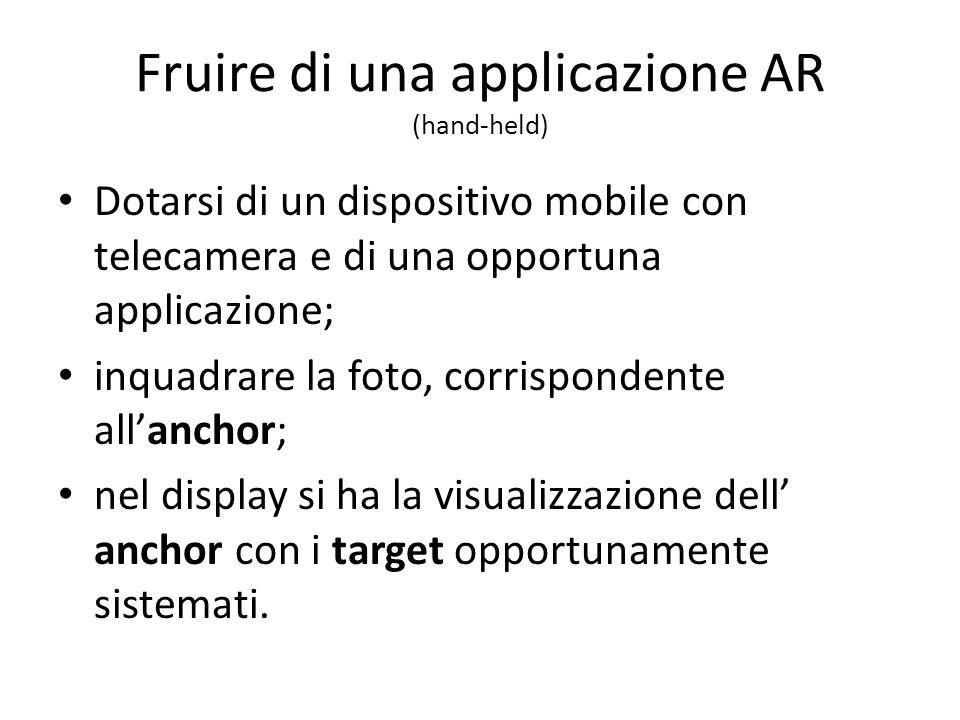 Fruire di una applicazione AR (hand-held) Dotarsi di un dispositivo mobile con telecamera e di una opportuna applicazione; inquadrare la foto, corrisp