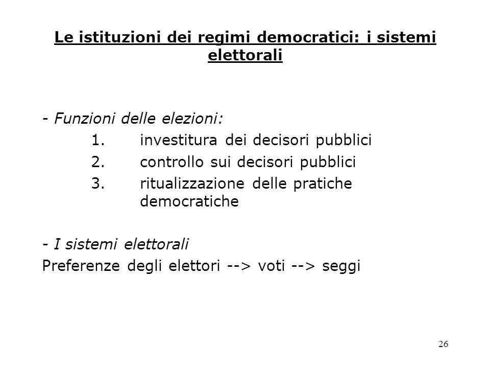 26 Le istituzioni dei regimi democratici: i sistemi elettorali - Funzioni delle elezioni: 1.investitura dei decisori pubblici 2.controllo sui decisori