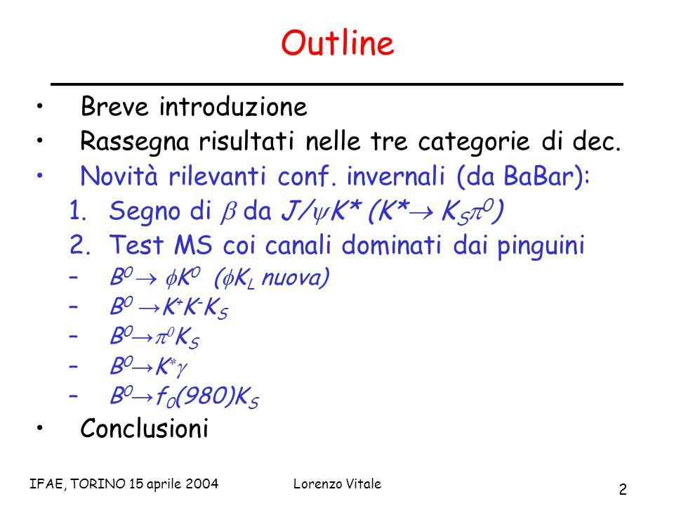 2 IFAE, TORINO 15 aprile 2004Lorenzo Vitale Outline Breve introduzione Rassegna risultati nelle tre categorie di dec.