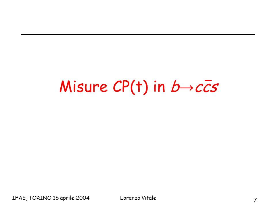 7 IFAE, TORINO 15 aprile 2004Lorenzo Vitale Misure CP(t) in b → ccs