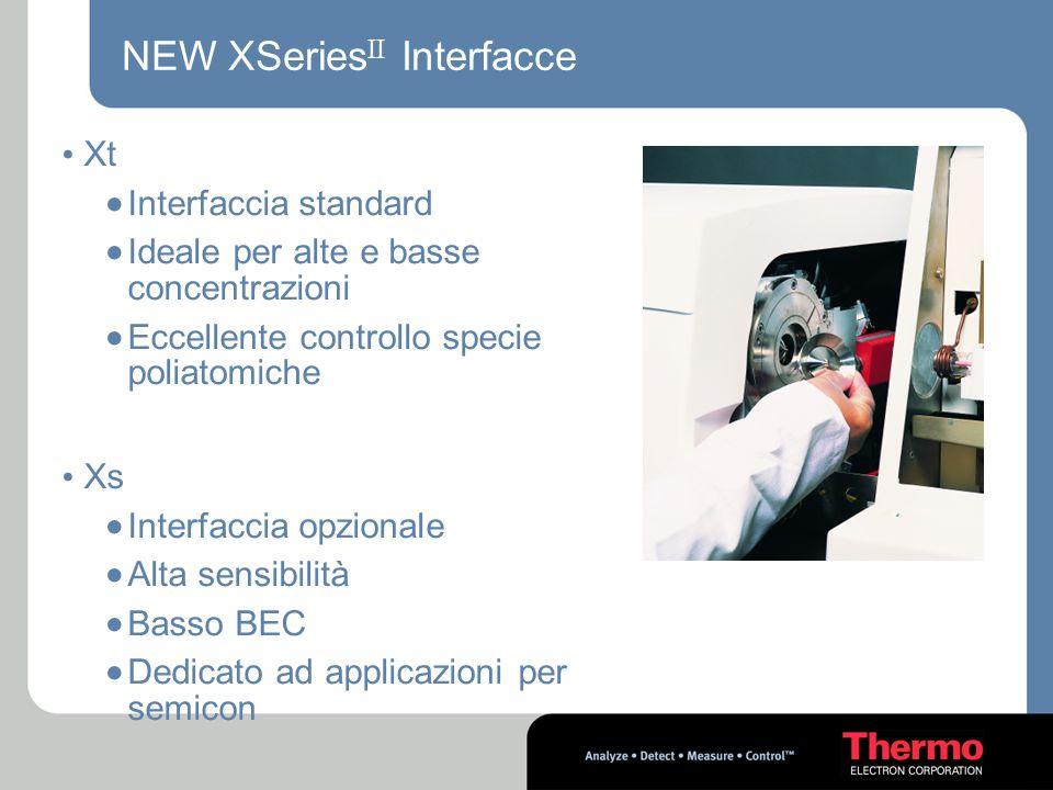NEW XSeries II Interfacce Xt  Interfaccia standard  Ideale per alte e basse concentrazioni  Eccellente controllo specie poliatomiche Xs  Interfacc