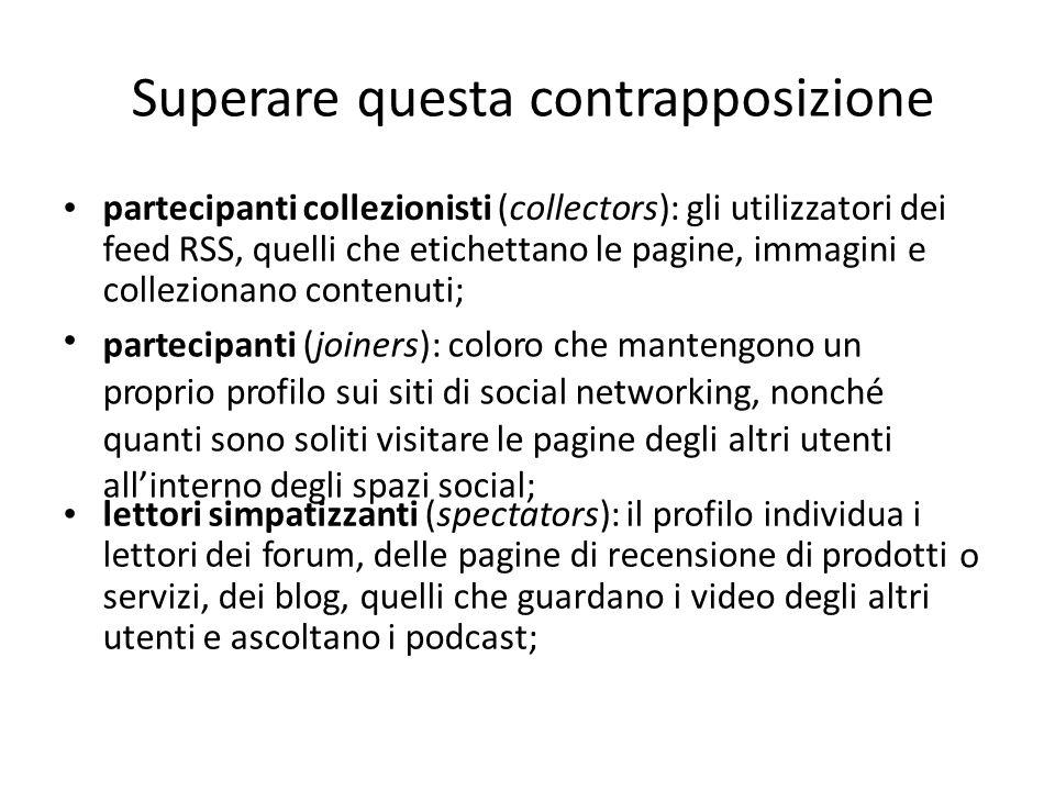 Superare questa contrapposizione partecipanti collezionisti (collectors): gli utilizzatori dei feed RSS, quelli che etichettano le pagine, immagini co