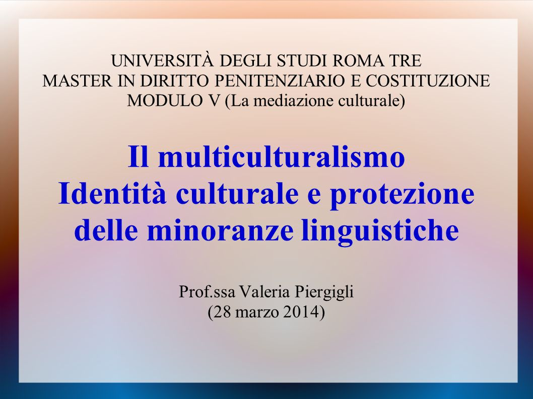 UNIVERSITÀ DEGLI STUDI ROMA TRE MASTER IN DIRITTO PENITENZIARIO E COSTITUZIONE MODULO V (La mediazione culturale) Il multiculturalismo Identità cultur