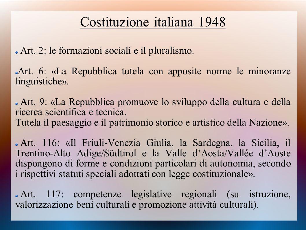 Costituzione italiana 1948 Art. 2: le formazioni sociali e il pluralismo. Art. 6: «La Repubblica tutela con apposite norme le minoranze linguistiche».