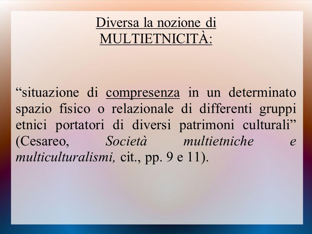 """Diversa la nozione di MULTIETNICITÀ: """"situazione di compresenza in un determinato spazio fisico o relazionale di differenti gruppi etnici portatori di"""