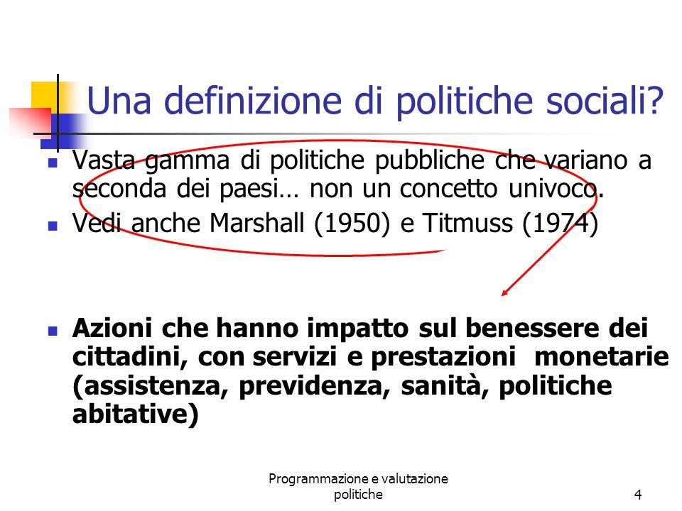 Programmazione e valutazione politiche5 Le politiche sociali Politiche PENSIONISTICHE Politiche SANITARIE Politiche del LAVORO Politiche di ASSISTENZA SOCIALE