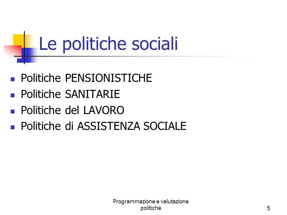 Programmazione e valutazione politiche5 Le politiche sociali Politiche PENSIONISTICHE Politiche SANITARIE Politiche del LAVORO Politiche di ASSISTENZA