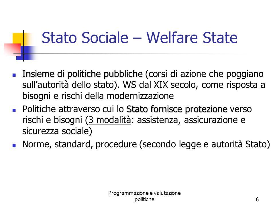 Programmazione e valutazione politiche6 Stato Sociale – Welfare State Insieme di politiche pubbliche Insieme di politiche pubbliche (corsi di azione c