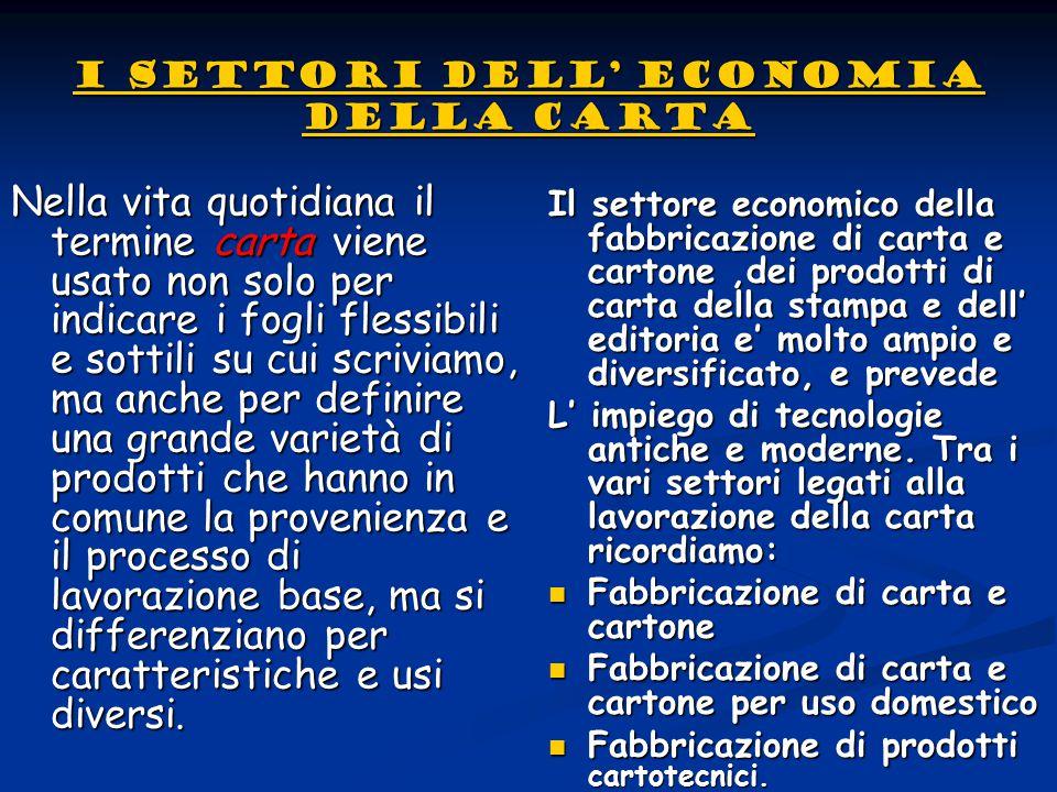 I settori dell' economia della carta I settori dell' economia della cartaNella vita quotidiana il termine carta viene usato non solo per indicare i fo