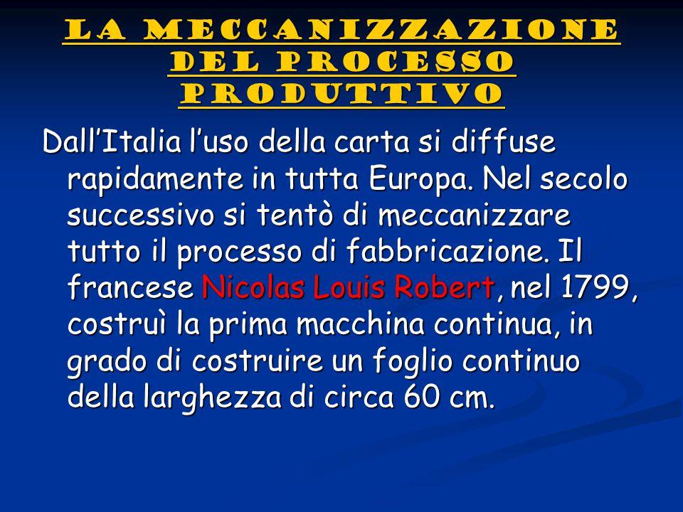 LA MECCANIZZAZIONE DEL PROCESSO PRODUTTIVO LA MECCANIZZAZIONE DEL PROCESSO PRODUTTIVODall'Italia l'uso della carta si diffuse rapidamente in tutta Eur