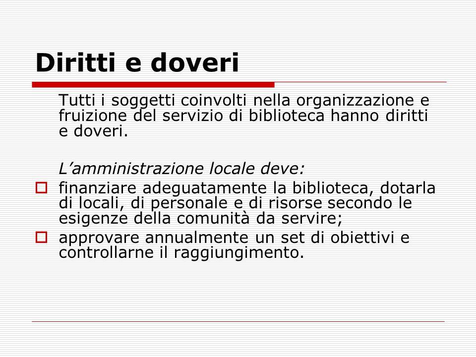 Diritti e doveri Tutti i soggetti coinvolti nella organizzazione e fruizione del servizio di biblioteca hanno diritti e doveri.