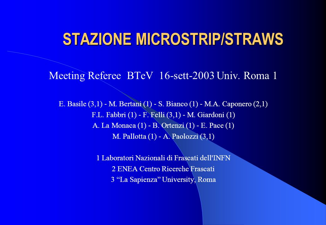 STAZIONE MICROSTRIP/STRAWS STAZIONE MICROSTRIP/STRAWS Meeting Referee BTeV 16-sett-2003 Univ.