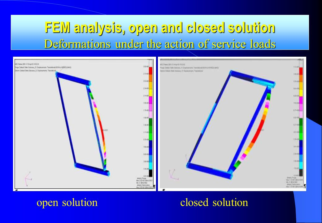 open solution closed solution FEM analysis, open and closed solution Deformations under the action of service loads