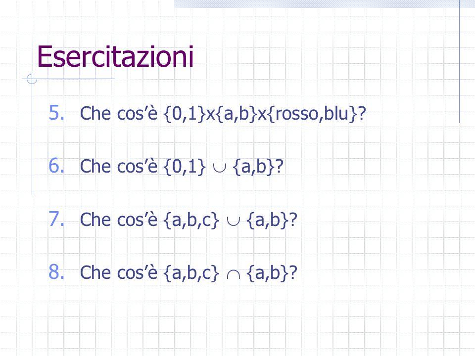 Esercitazioni 5. Che cos'è {0,1}x{a,b}x{rosso,blu}.