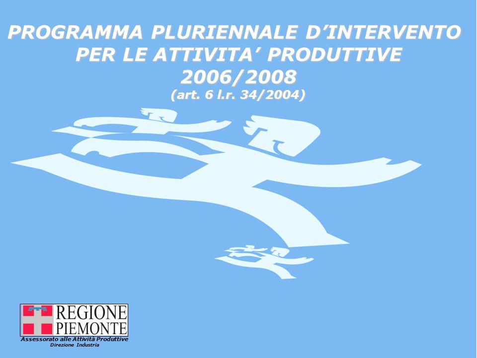 Assessorato alle Attività Produttive Direzione Industria PROGRAMMA PLURIENNALE D'INTERVENTO PER LE ATTIVITA' PRODUTTIVE 2006/2008 (art.