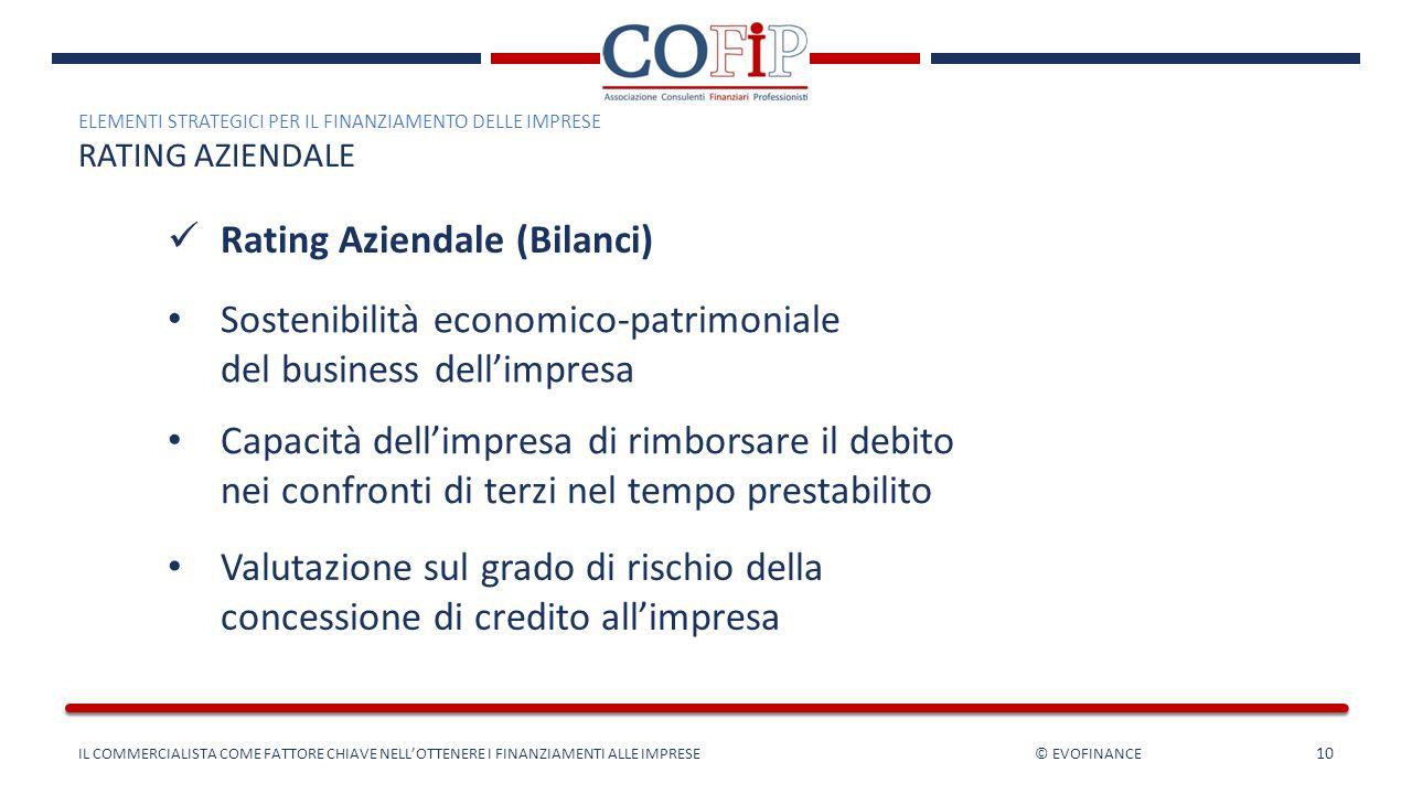 10 Rating Aziendale (Bilanci) ELEMENTI STRATEGICI PER IL FINANZIAMENTO DELLE IMPRESE RATING AZIENDALE Sostenibilità economico-patrimoniale del busines