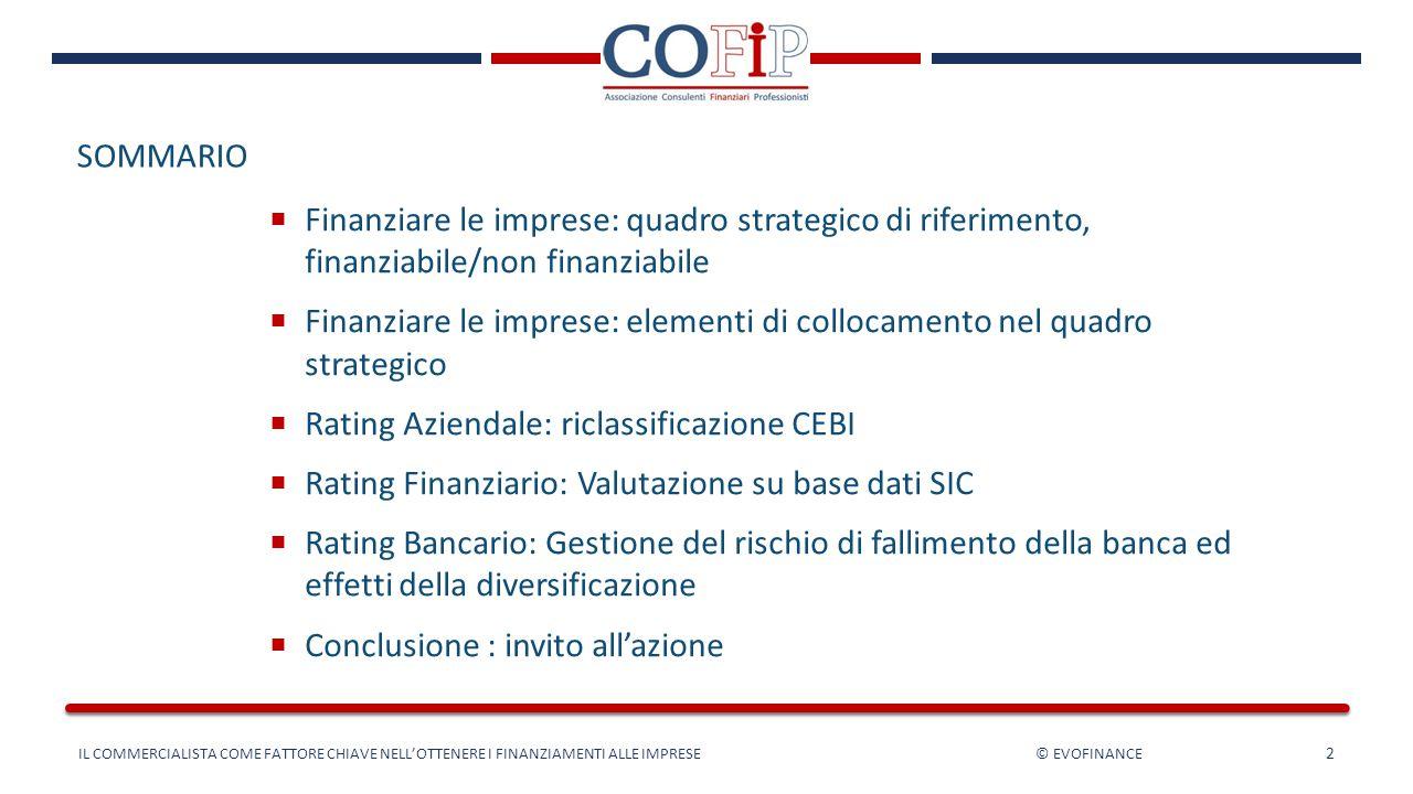 SOMMARIO 2  Finanziare le imprese: quadro strategico di riferimento, finanziabile/non finanziabile  Finanziare le imprese: elementi di collocamento
