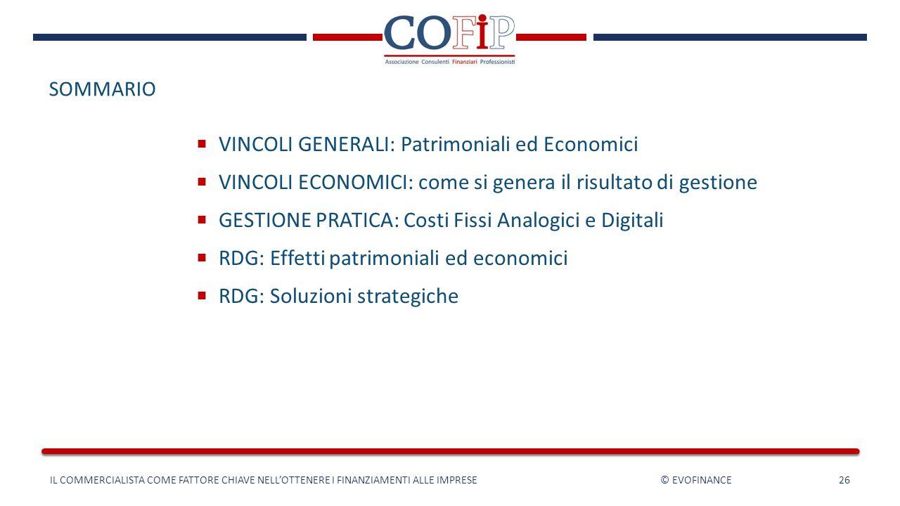 SOMMARIO  VINCOLI GENERALI: Patrimoniali ed Economici  VINCOLI ECONOMICI: come si genera il risultato di gestione  GESTIONE PRATICA: Costi Fissi An