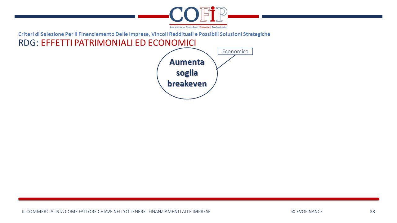 RDG: EFFETTI PATRIMONIALI ED ECONOMICI Criteri di Selezione Per Il Finanziamento Delle Imprese, Vincoli Reddituali e Possibili Soluzioni Strategiche I