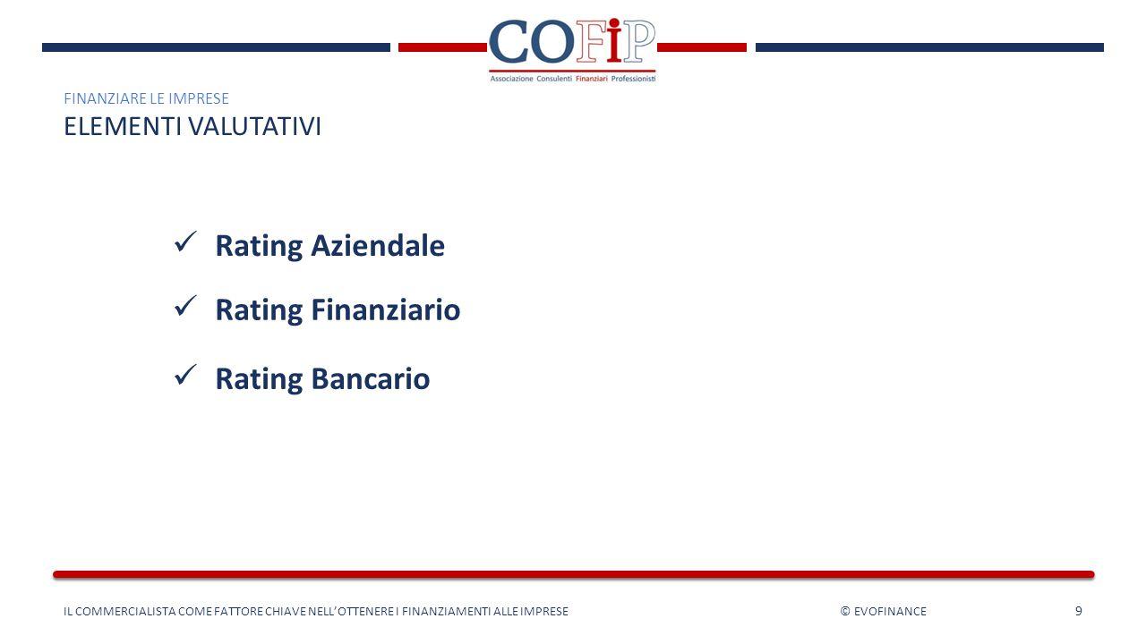 9 Rating Aziendale Rating Finanziario Rating Bancario FINANZIARE LE IMPRESE ELEMENTI VALUTATIVI IL COMMERCIALISTA COME FATTORE CHIAVE NELL'OTTENERE I
