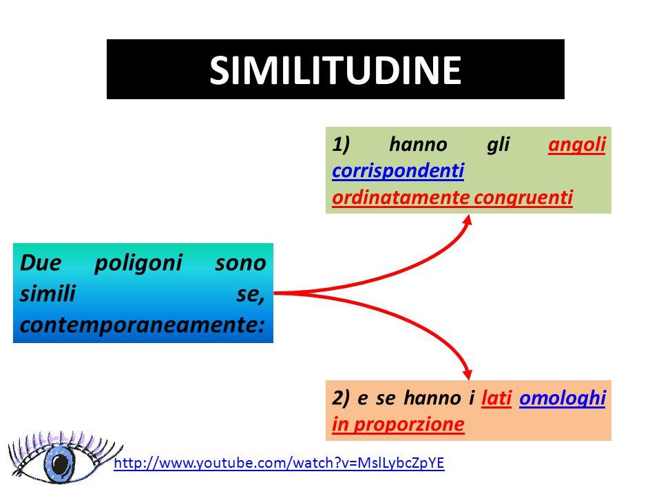 SIMILITUDINE Due poligoni sono simili se, contemporaneamente: 2) e se hanno i lati omologhi in proporzioneomologhi 1) hanno gli angoli corrispondenti ordinatamente congruenti corrispondenti http://www.youtube.com/watch?v=MslLybcZpYE