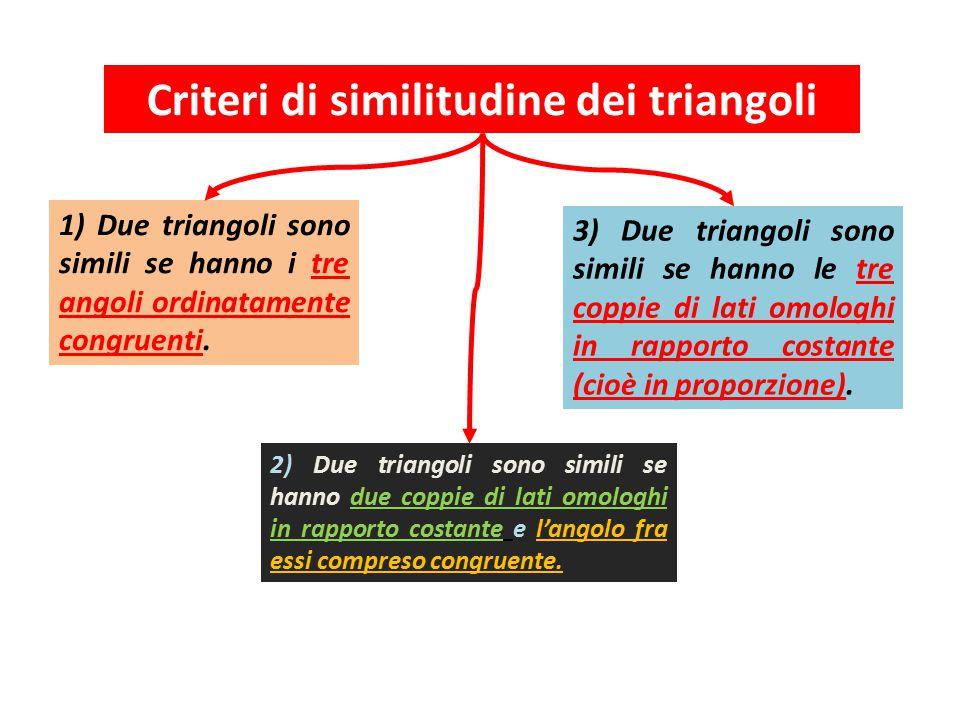 Criteri di similitudine dei triangoli 1) Due triangoli sono simili se hanno i tre angoli ordinatamente congruenti.