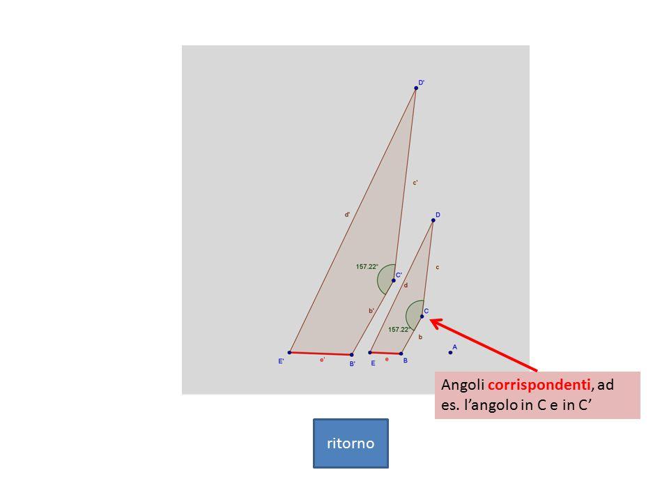 Angoli corrispondenti, ad es. l'angolo in C e in C' ritorno