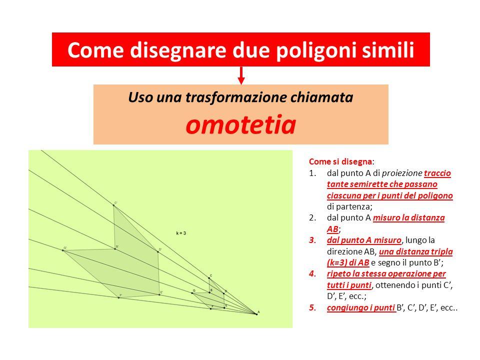 Come disegnare due poligoni simili Uso una trasformazione chiamata omotetia Come si disegna: 1.dal punto A di proiezione traccio tante semirette che passano ciascuna per i punti del poligono di partenza; 2.dal punto A misuro la distanza AB; 3.dal punto A misuro, lungo la direzione AB, una distanza tripla (k=3) di AB e segno il punto B'; 4.ripeto la stessa operazione per tutti i punti, ottenendo i punti C', D', E', ecc.; 5.congiungo i punti B', C', D', E', ecc..