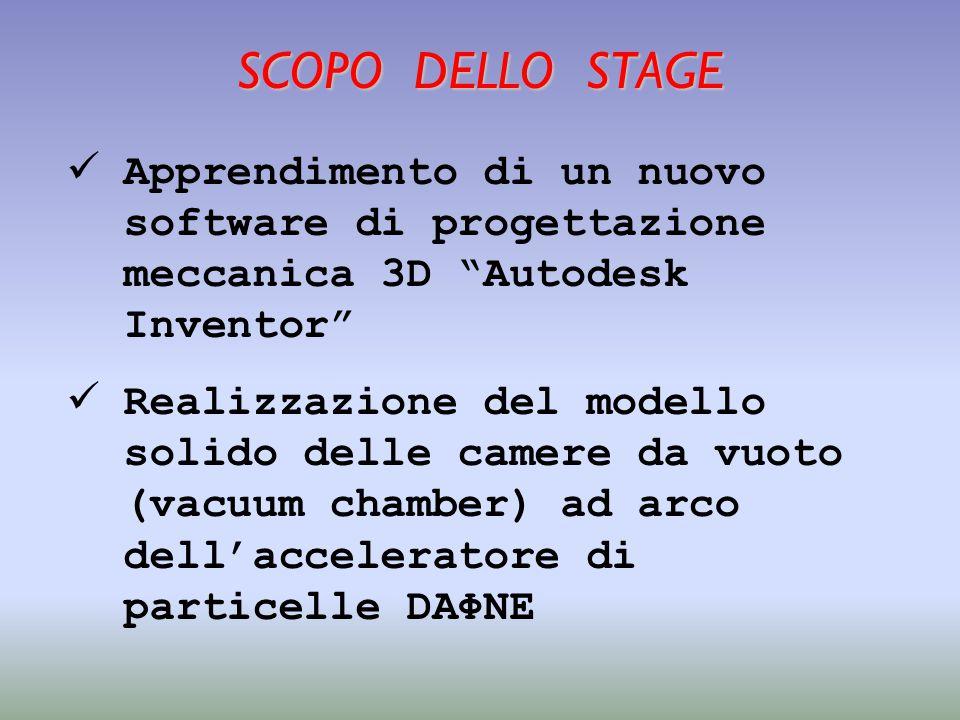 SCOPO DELLO STAGE Apprendimento di un nuovo software di progettazione meccanica 3D Autodesk Inventor Realizzazione del modello solido delle camere da vuoto (vacuum chamber) ad arco dell'acceleratore di particelle DAΦNE